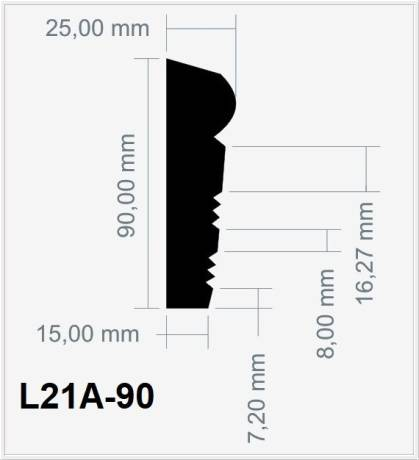 L21A-90 Fassadenstuck Profil Leiste Styroporstuck Fassadenprofil 90x25mm 300cm