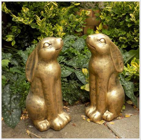 Goldhase aus massivem Beton Steinguss Hase mit Goldfarben als exellentes Geschenk 38cm 8kg