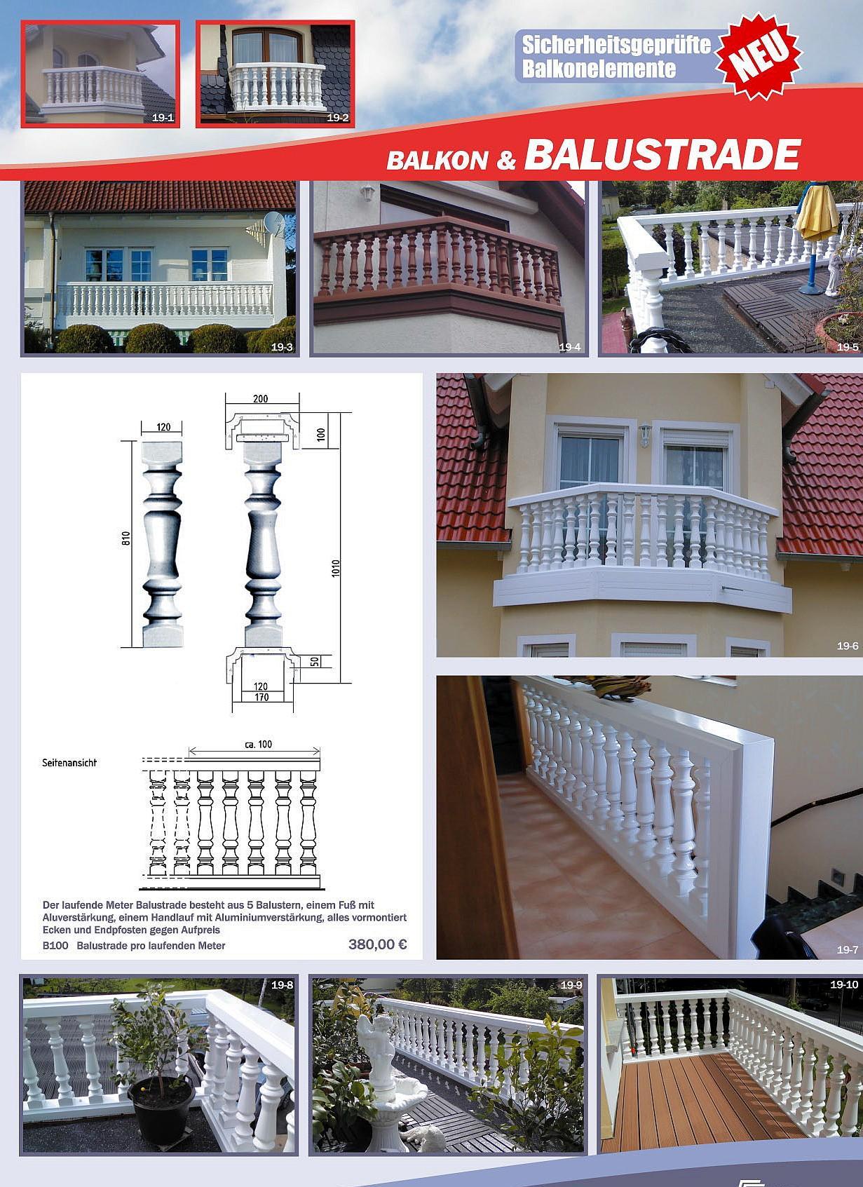 die leichte kunststoff balustrade f r den balkon. Black Bedroom Furniture Sets. Home Design Ideas