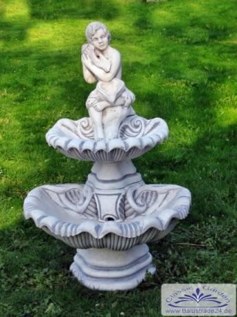 Wandbrunnen Mit 2 Wasserschalen Und Figur Gartenfiguren Aus Beton