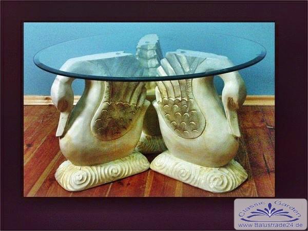 Glastisch mit schwan innendekoration gartenfiguren for Js innendekoration