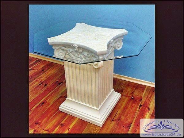 glastisch mit s ule und rechteckiger glasplatte dekorativer tisch mit ionischen kapitell f r die. Black Bedroom Furniture Sets. Home Design Ideas