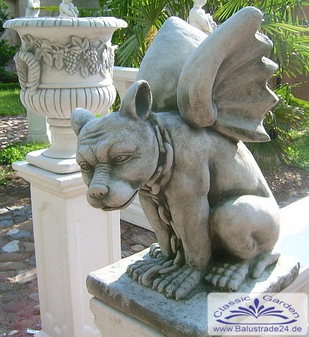 gartenfigur drache gargoyle hund mit fl gel statue fantasie figur gartenfiguren aus beton. Black Bedroom Furniture Sets. Home Design Ideas