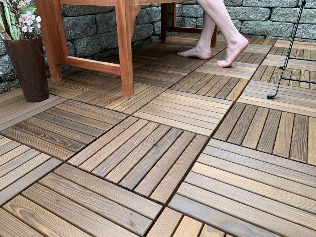 THF 20 Holzfliesen Terrassen Holzplatten Bodenfliesen mit Stecksystem