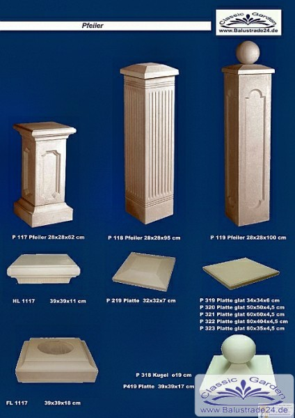 balustraden kaufen katalog s ulen torpfeiler zaunpfeiler. Black Bedroom Furniture Sets. Home Design Ideas