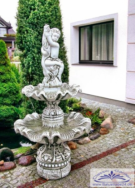 Kleiner gartenbrunnen mit 2 wasserschalen und figur - Kleiner gartenbrunnen ...