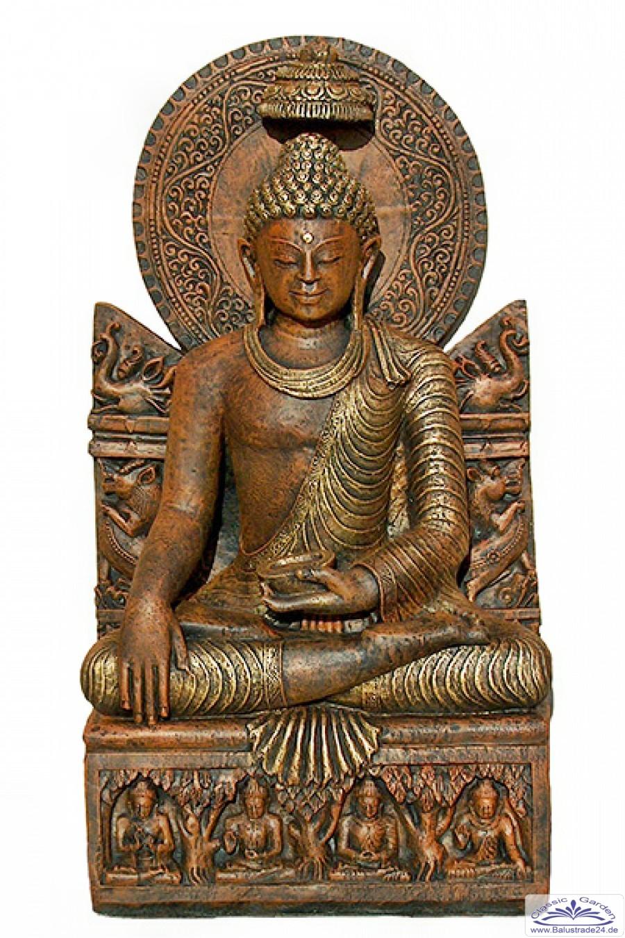 Sitzender buddha figur mit schrein gartenfigur statue figur gartendekoration gartenfiguren aus - Asiatische gartendeko ...