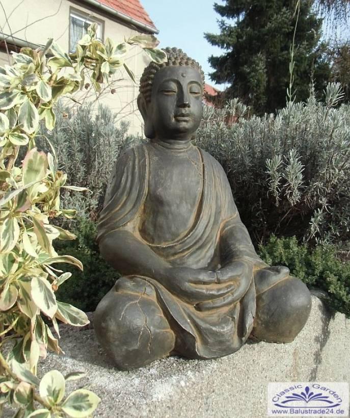 SRS101180 Buddha Beim Gebet Buddafigur Terrabraun Oder Hellgrau 49cm 28kg