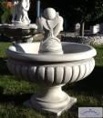 KP-0611 Garten Springbrunnen als Standbrunnen mit Wasserschale und Delphin Figur mit Kugel als Wasserspeier 100cm 285kg